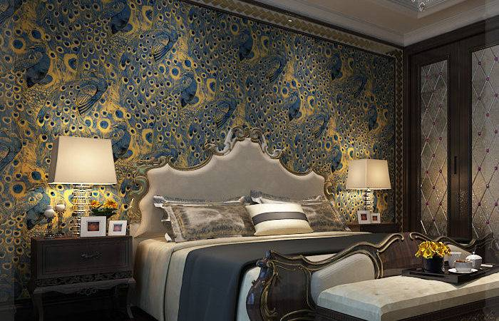Modern Peacock Paper Wall Roll Gold
