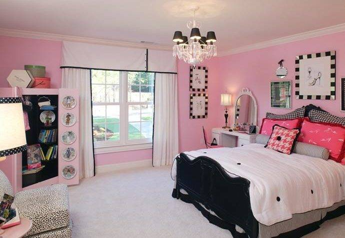 Modern Pink Black Bedroom Decorations Ideas
