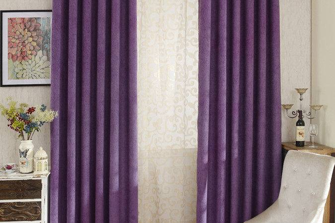 Modern Purple Color Solid Chenille Bedroom Curtains
