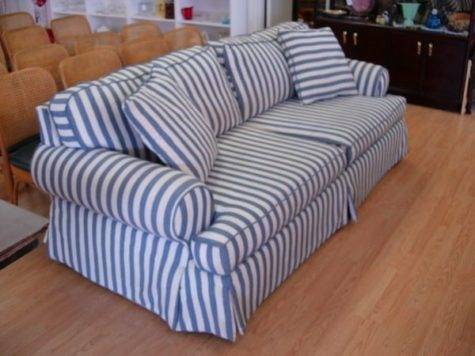 Modern Sofa Blue White Striped Cotton Denim Comf