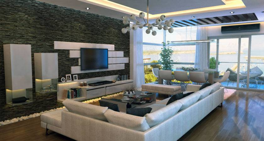 Modern Stone Feature Wall Living Room Interior Design Ideas