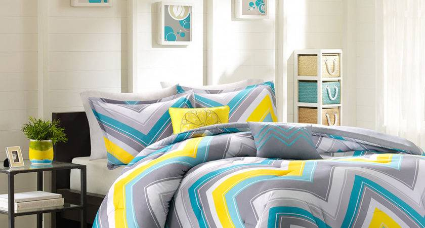 Modern Teal Blue Aqua Grey Yellow Chevron Geometric Stripe