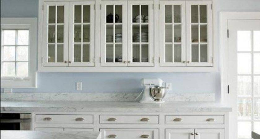 Modern White Kitchen Cabinets Glass Doors