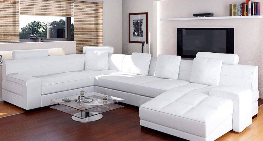 Modern White Leather Sectional Sofa Contemporary