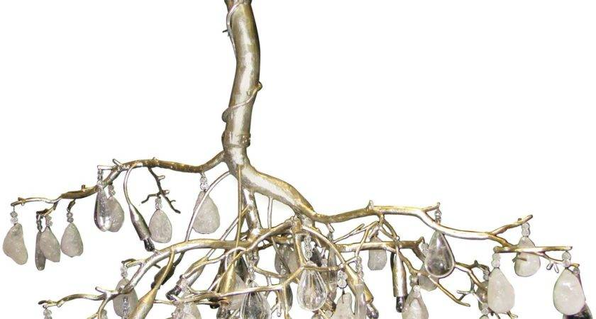Modern Wrought Iron Silver Leafed Tree Form Chandelier