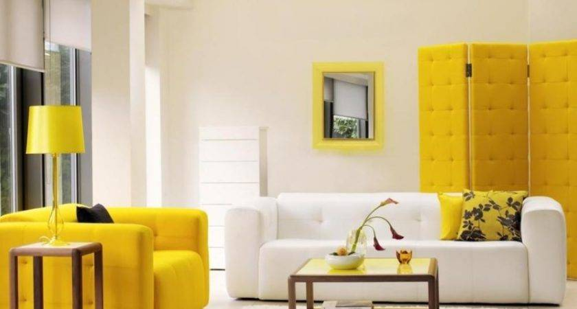 Modern Yellow Living Room Furniture White Interior