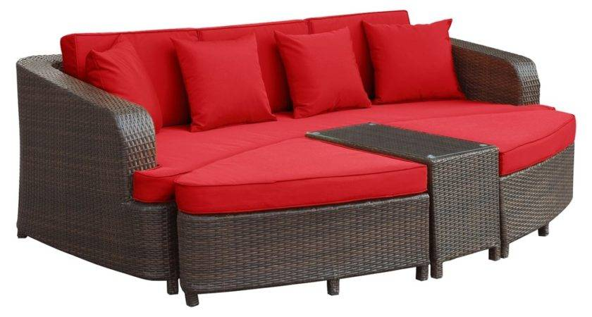 Monterey Pieces Outdoor Patio Sofa Set Brown Red