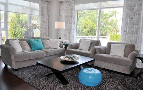 Moroccan Pouf Turquoise Accents Shine Gray Living