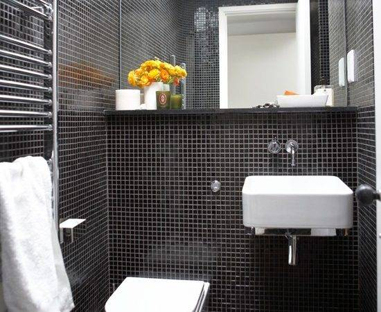 Mosaic Tiled Bathroom Black White Designs