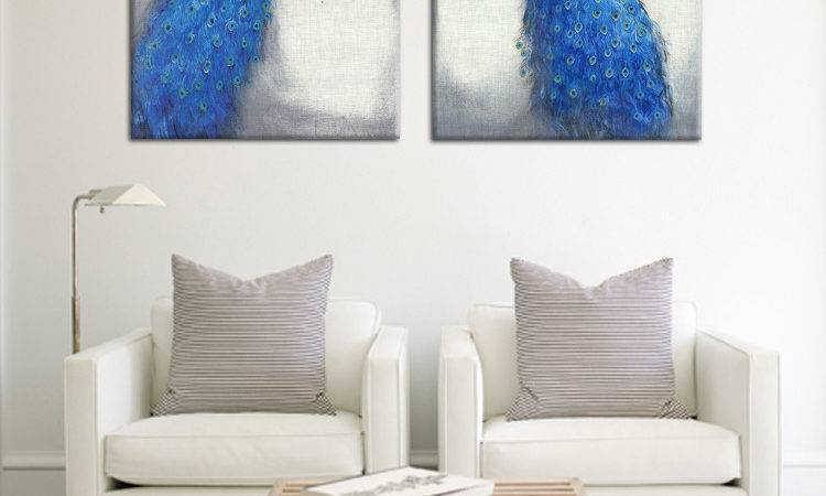 Most Fashion Beautiful Blue Peacock Art Paintings Canvas