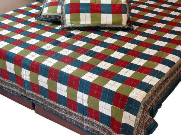 Multi Color Gold Print Double Bed Sheet Set