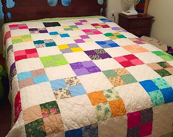 Multicolor Geometric Bed Quilt Bedding Home Trailofthreads