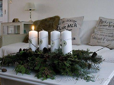 Natural Advent Decoration Four Candles