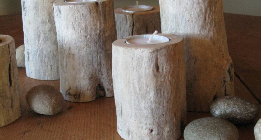 Natural Driftwood Candle Holder Organic Home