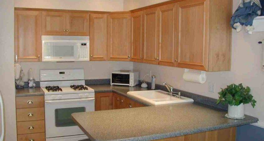 Natural Maple Kitchen Cabinets White Appliances