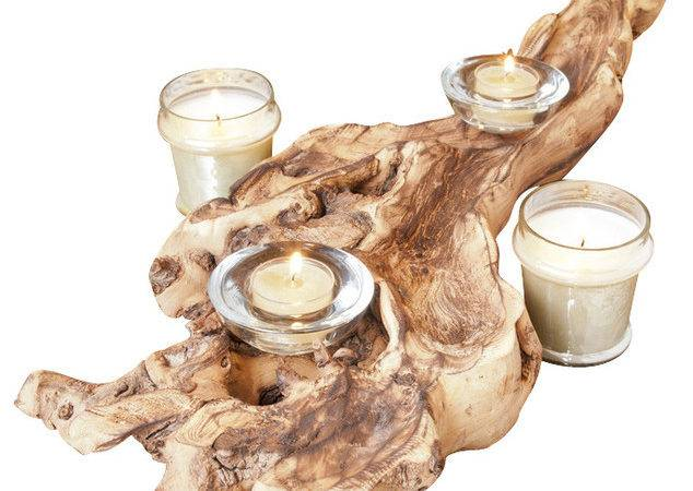 Natural Rustic Wood Candle Holder Centerpiece