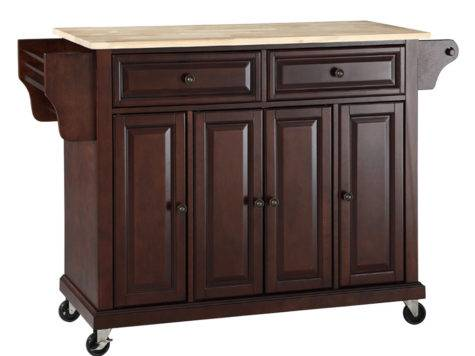 Natural Wood Top Kitchen Cart Island Vintage Mahogany