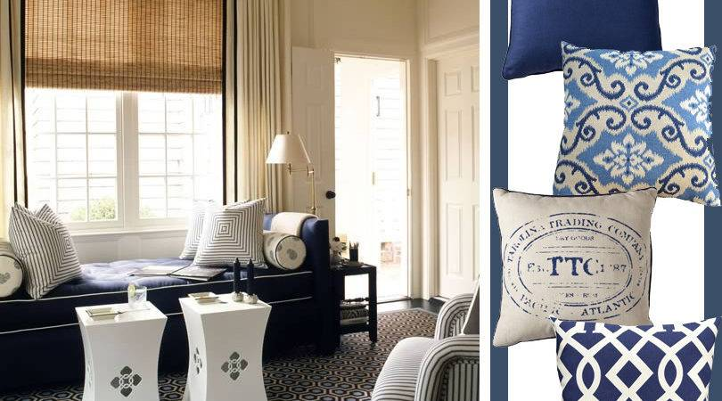 Nautical Living Room Navy Blue Beige Dark