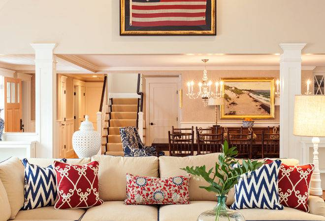 Navy Beige Living Room Beach Style