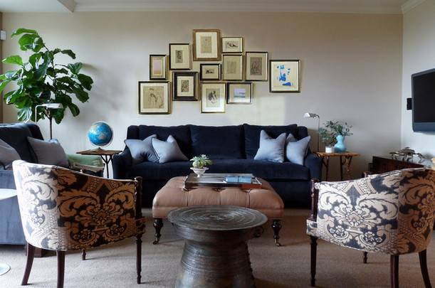 Navy Blue Beige Sofa Living Room