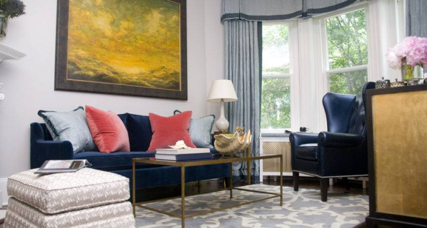 Navy Blue Couches Living Room Transitional Artwork