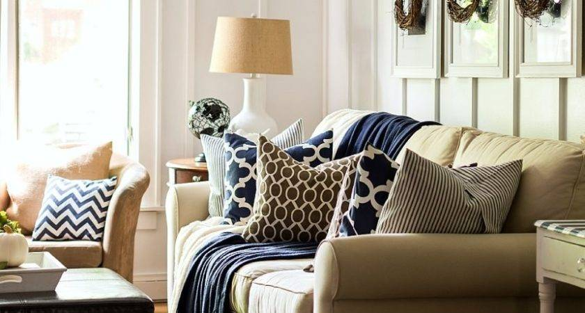 Navy Blue Cream Bedroom White Brown Decor Fall