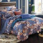 Navy Blue Rust Orange Unusual Bohemian Chic Paisley