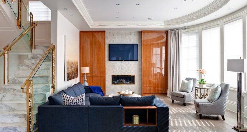 Navy Blue Sectional Room Transitional Sofa