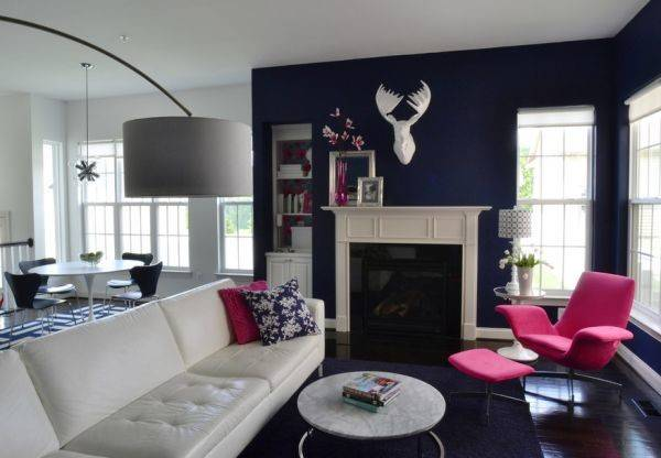 Navy Blue White Living Room Carefully Placed