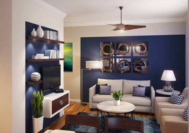 Navy Blue White Small Room Modern