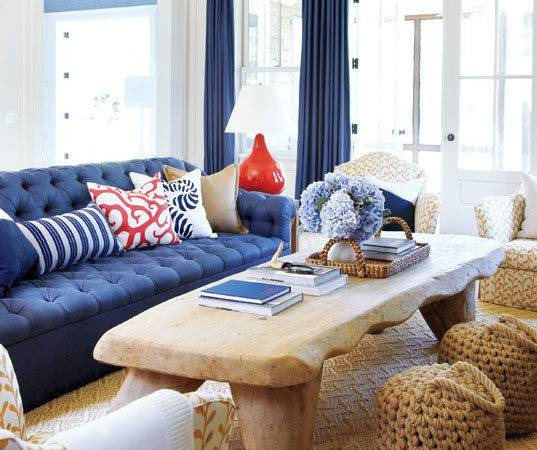 Navy Coral Living Room Decorchick
