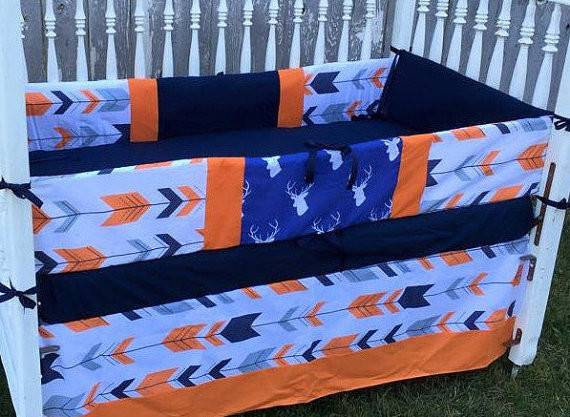 Navy Orange Deer Crib Bedding