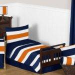 Navy Orange Stripe Toddler Bedding Set Sweet Jojo