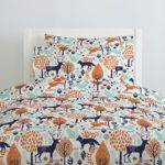 Navy Orange Woodland Animals Duvet Cover Carousel
