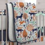 Navy Orange Woodland Piece Crib Bedding Set