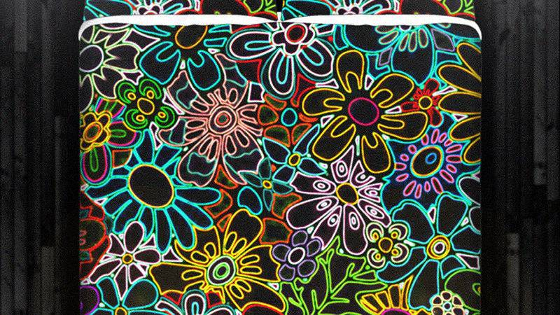 Neon Flower Colorful Floral Duvet Cover Bedding Queen