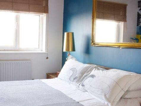 Neutral Bedroom Blue Feature Wall Inspired