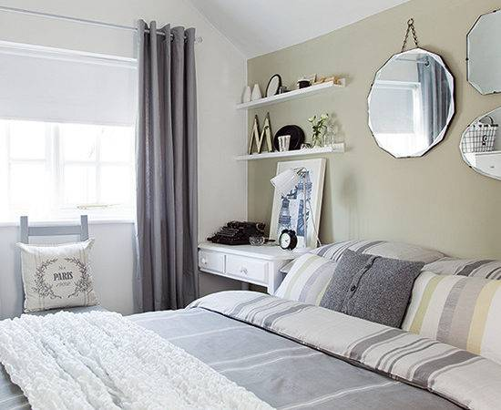 Neutral Bedroom Pale Green Feature Wall Country