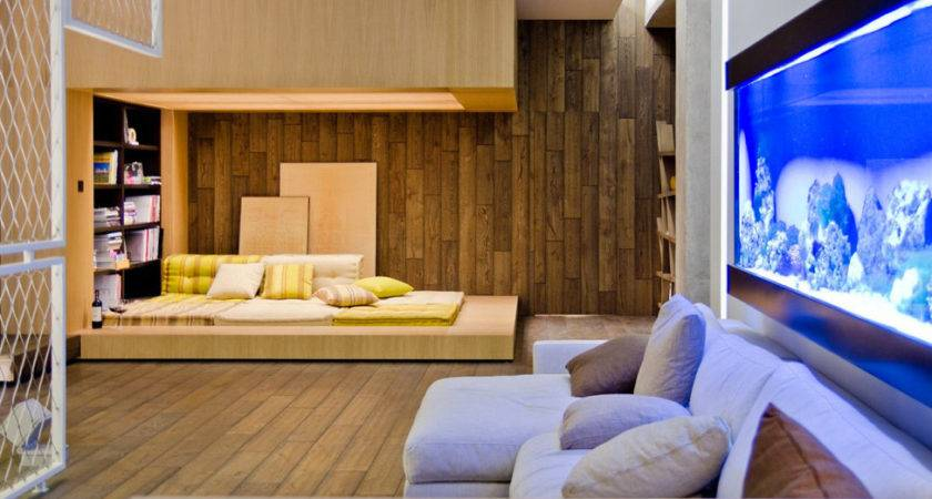 Neutral Living Room Wood Cladding Interior Design Ideas