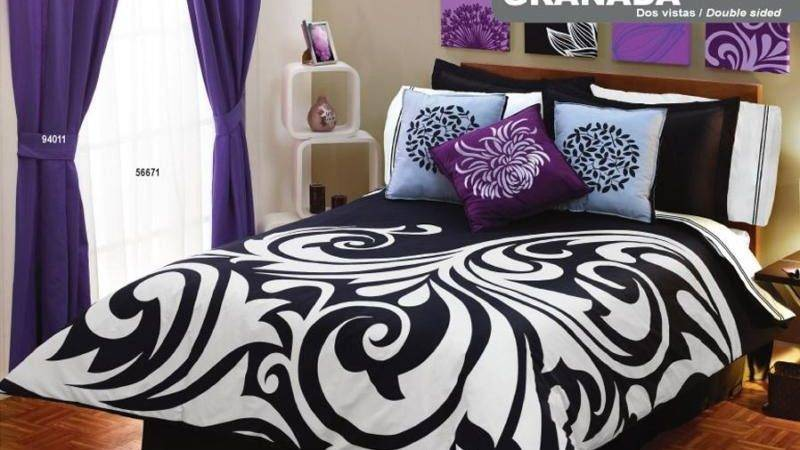 New Black White Purple Duvet Comforter Bedding Sheet