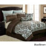 New Blue Brown Oversized Damask Comforter Set