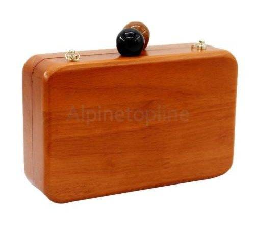 New Clasp Wooden Wood Purse Box Evening Cocktail Mini