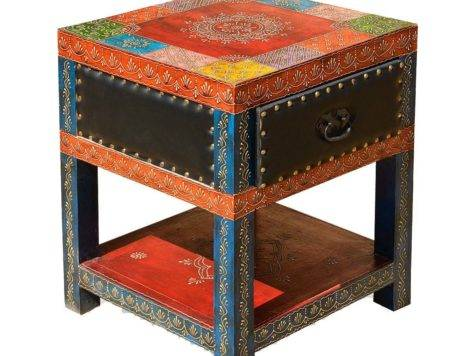 New Delhi Patchwork Leather Mango Hand Painted Square