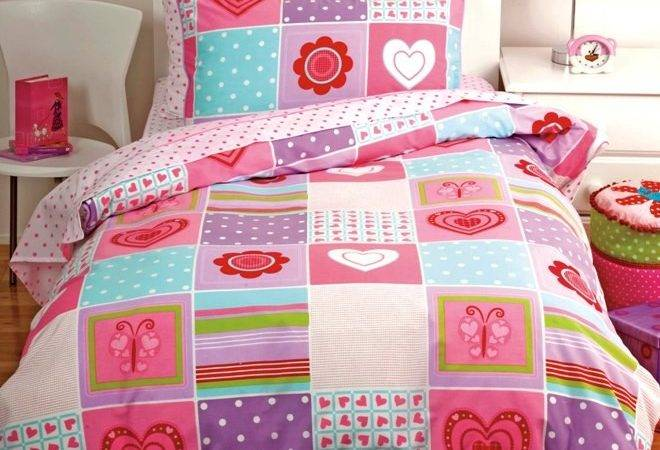 New Girls Butterfly Heart Pink Patchwork Twin