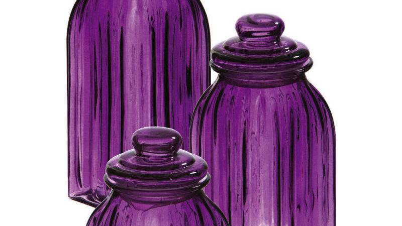 New Purple Glass Jars Canisters Kitchen Decor Storage