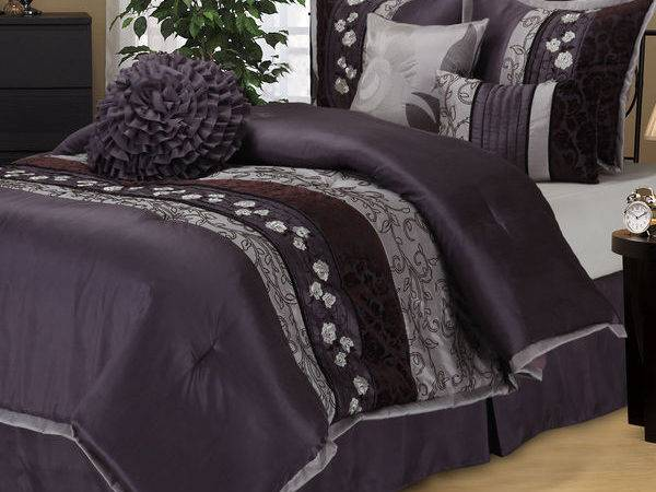 New Queen Cal King Bed Purple Gray Grey Floral Stripe