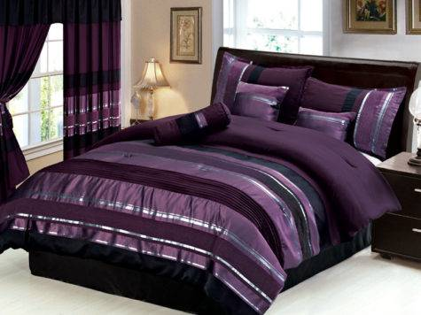 New Queen Royal Purple Black Silver Striped