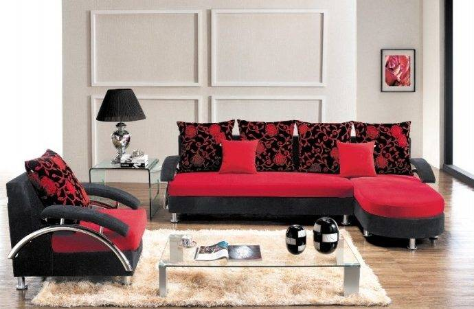 New Red Black Lounge Suite Single Couch Cushions