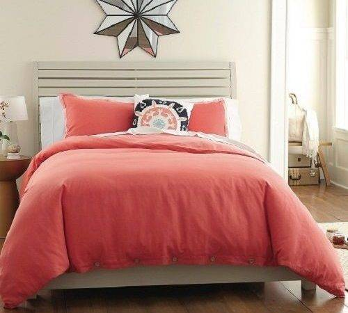 New Threshold Washed Linen Duvet Set Piece Coral