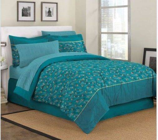 New Twin Exotic Teal Blue Peacock Feathers Comforter Sheet
